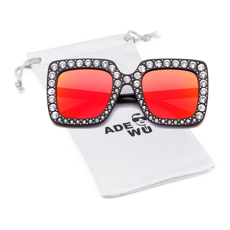 ADEWU Occhiali da sole con diamanti frizzanti oversize Donne Lente di protezione con montatura quadrata grande UV400