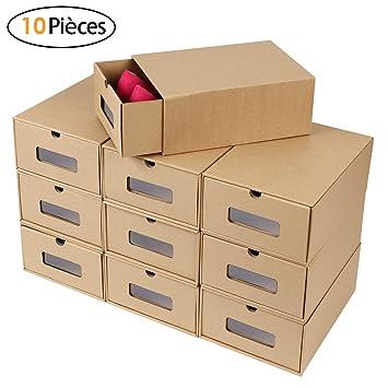 Papier Mvpower Boîte Kraft Epais Chaussures À Avec Rangement De Carton 10 Chaussure Tiroir En 2eWYbD9EHI