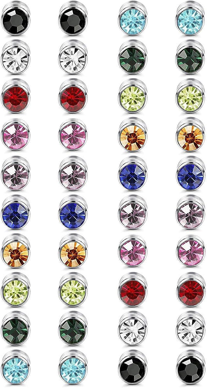 Finrezio 20 Pares Conjunto de Aretes Hombres Mujeres Colorido Cristal Pendientes Magneticos No Perforado Piercing 6 mm Pendientes Falsos
