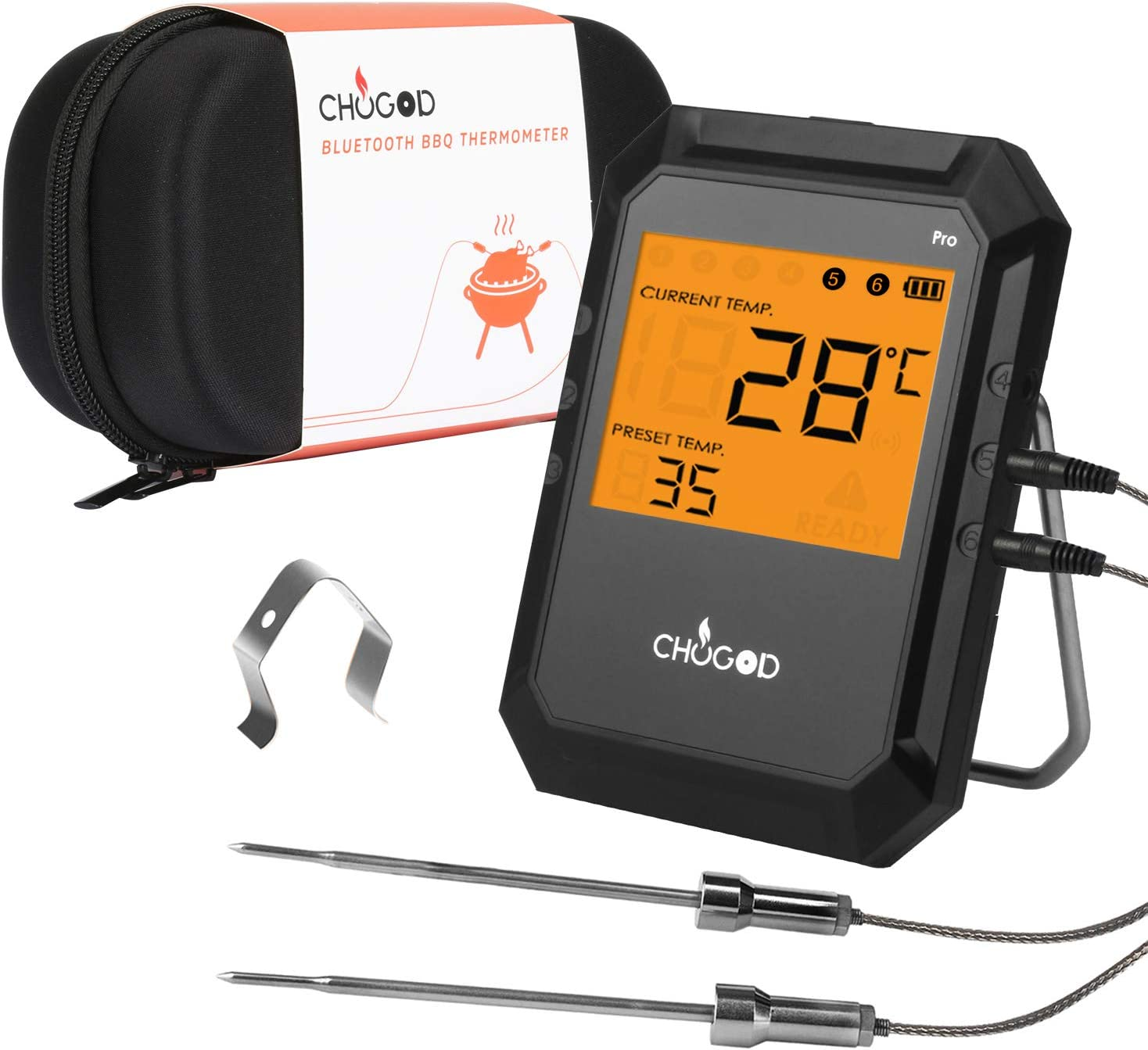 BBQ Meat Thermometer, Bluetooth Remote Cooking Thermometer, Digital Oven Thermometer with 6 Probe Port for Smoker Grilling (Black)