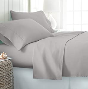 ienjoy Home Hotel Collection Luxury Soft Brushed Bed Sheet Set - Twin - Light Gray