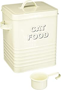 The Leonardo Collection Sweet Home Cream Cat Food Storage Tin with Scoop