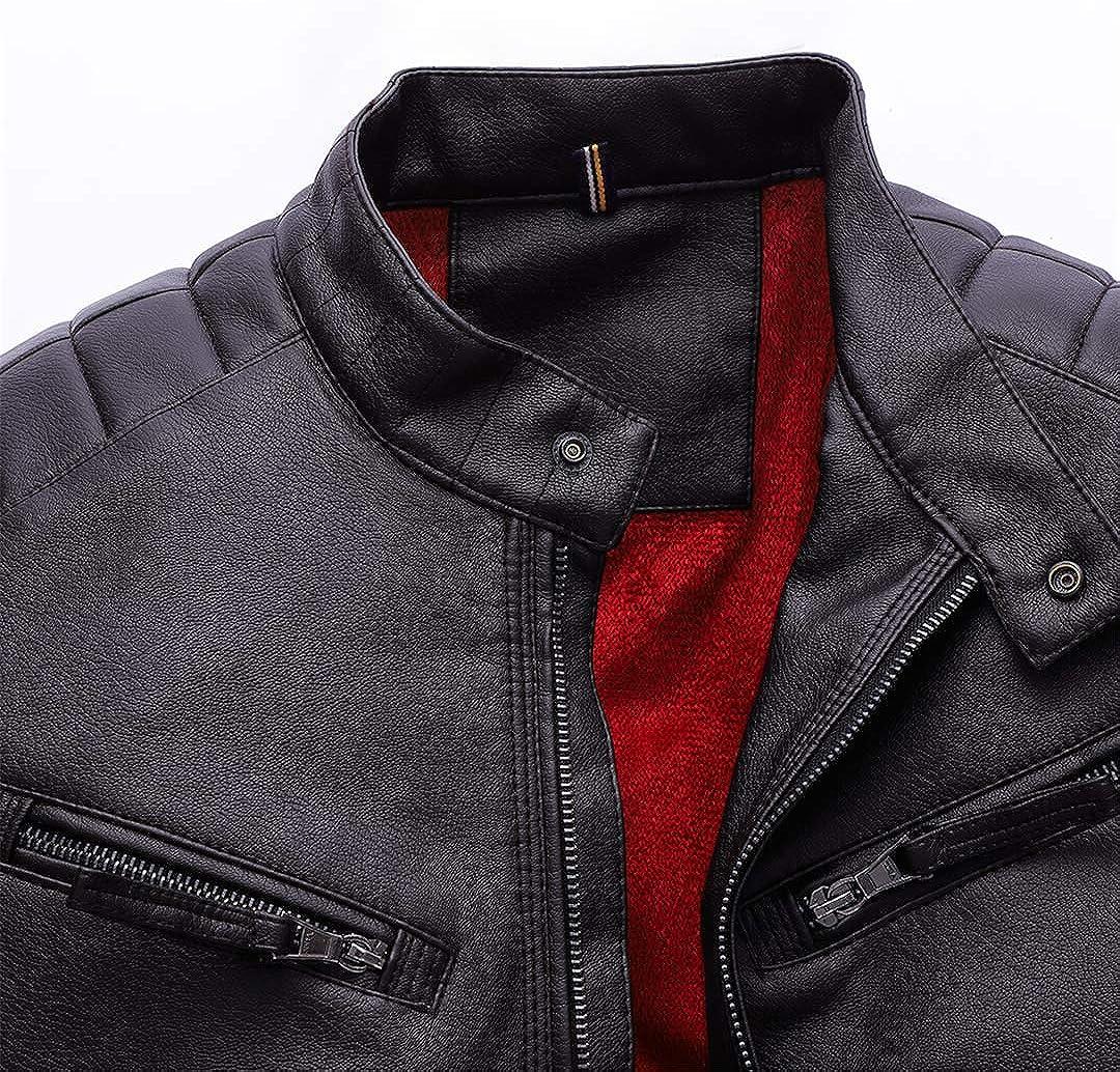 Men Plus Velvet Thick Warm Leather Jackets Washing Pu Leather Motorcycle Jackets Coat