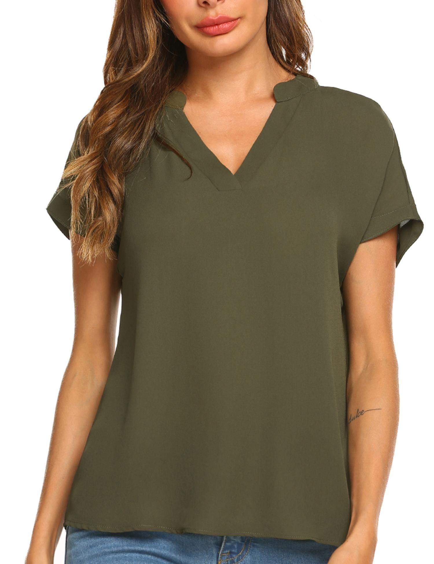 SOFT CHIFFON V-NECK WOMEN'S BLOUSE