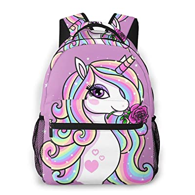 FeHuew Girls Rose Unicorn Backpacks Bookbag 16 Inch Shoulder Bag Daypack for 1-5th Grade School | Kids' Backpacks
