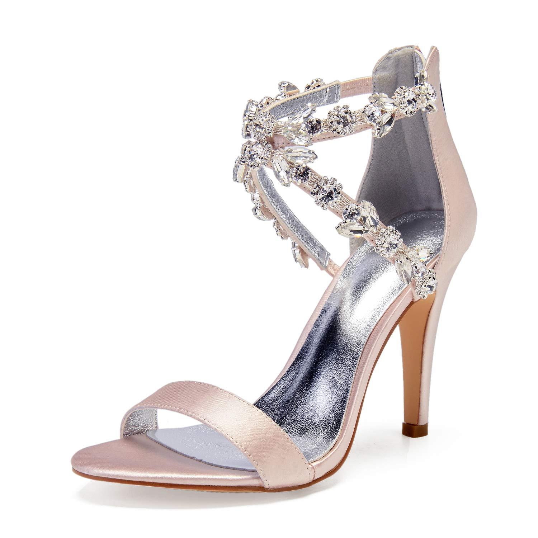 Champagne Champagne JRYYUE Femmes Strass Chaussures de Mariée Pointu Peep Toe Satin Pompes Talon Hauts Sandales 10.5CM