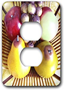 3dRose lsp_43858_6 Pears Apples N Grapes in Basket Light Switch Cover