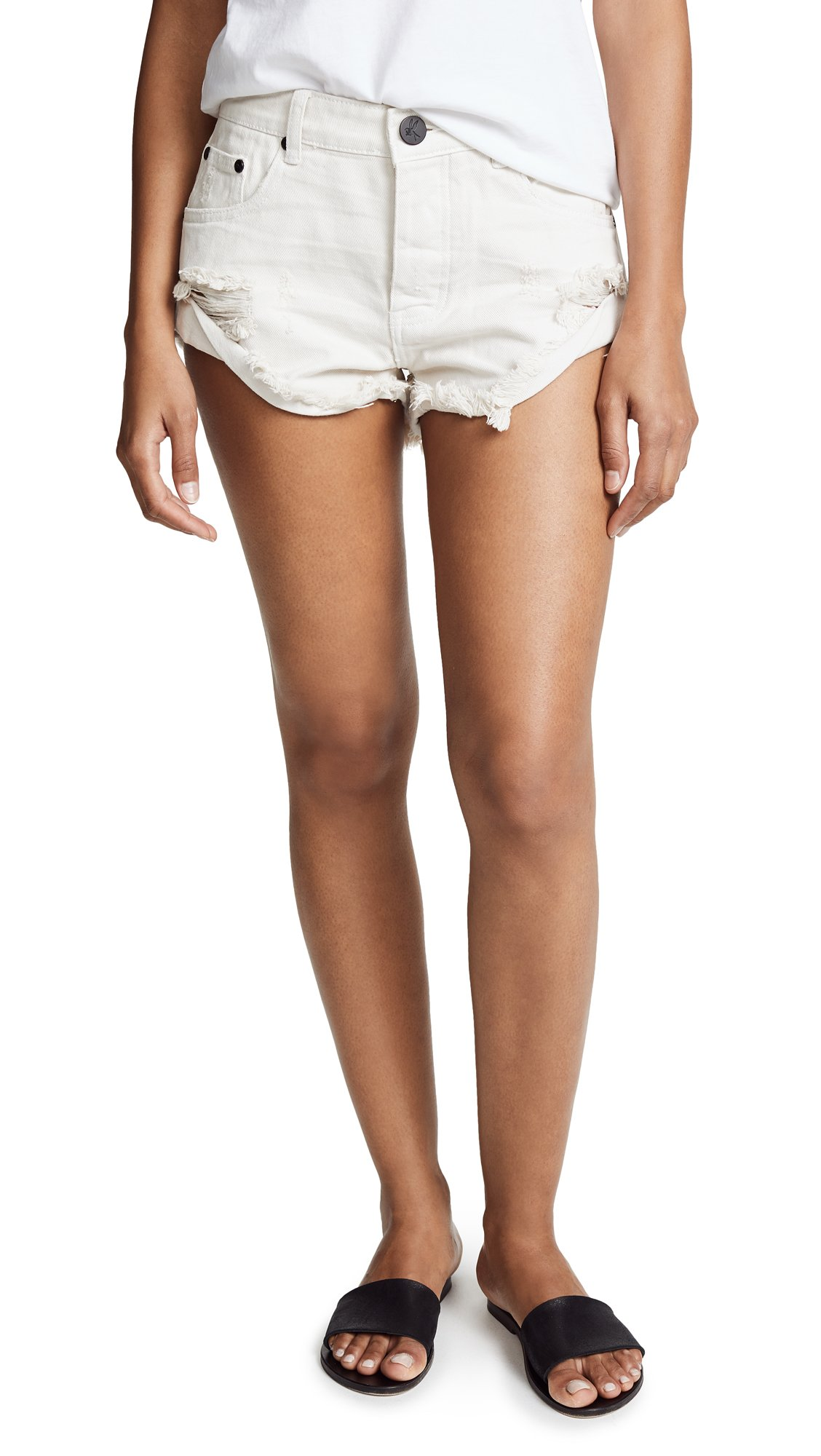 One Teaspoon Women's Worn White Bandit Shorts, Worn White, 25