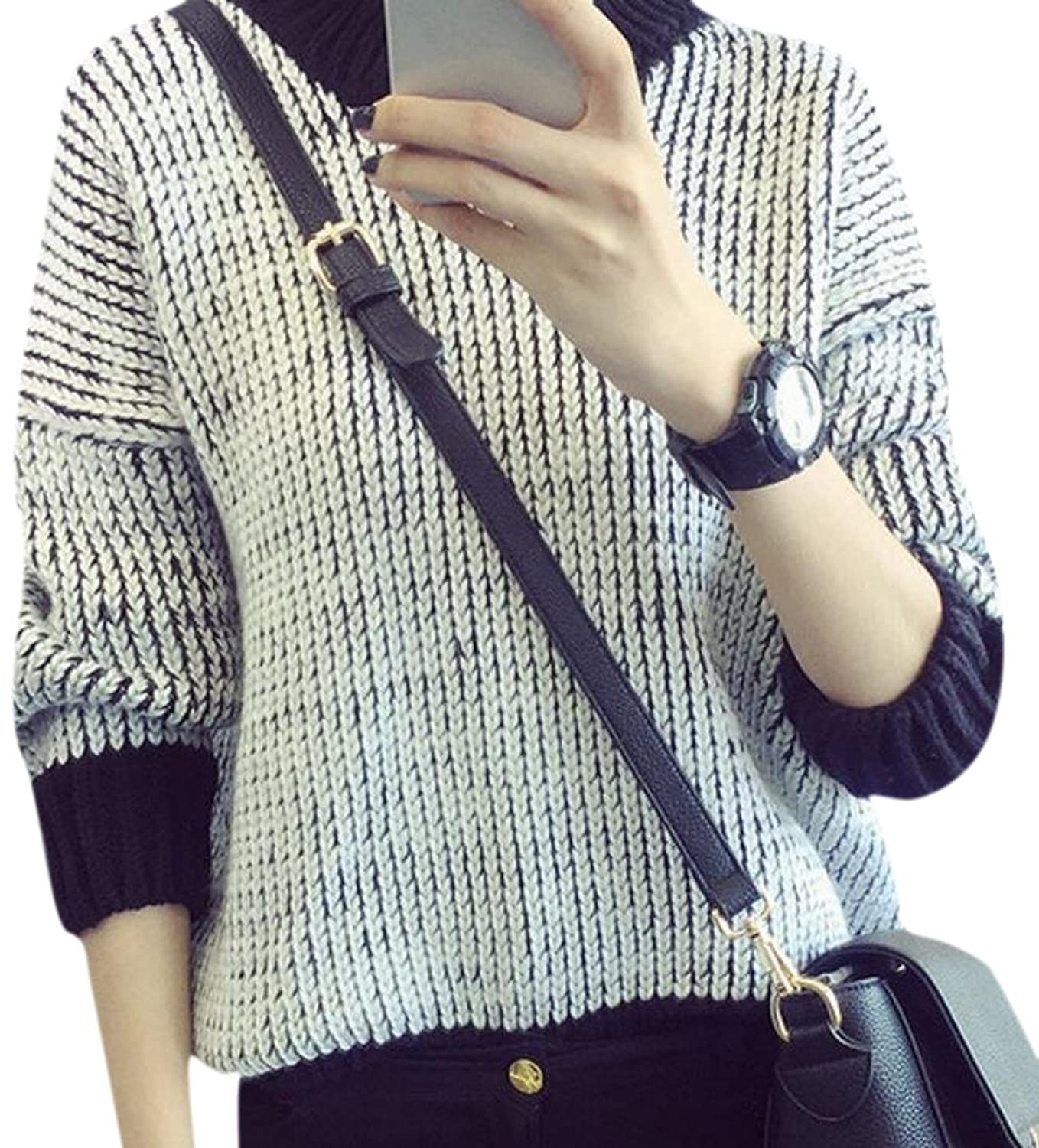 Zago Women's Simple Long Sleeve Crewneck Knitted Sweater