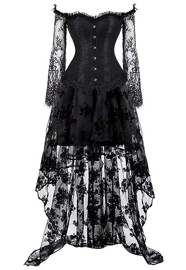 8221aaeb7ac AIZEN Victorian Corset Dress Women Asymmetry Bustier Skirt Long lace Vintage  Halloween Costumes  Amazon.co.uk  Clothing