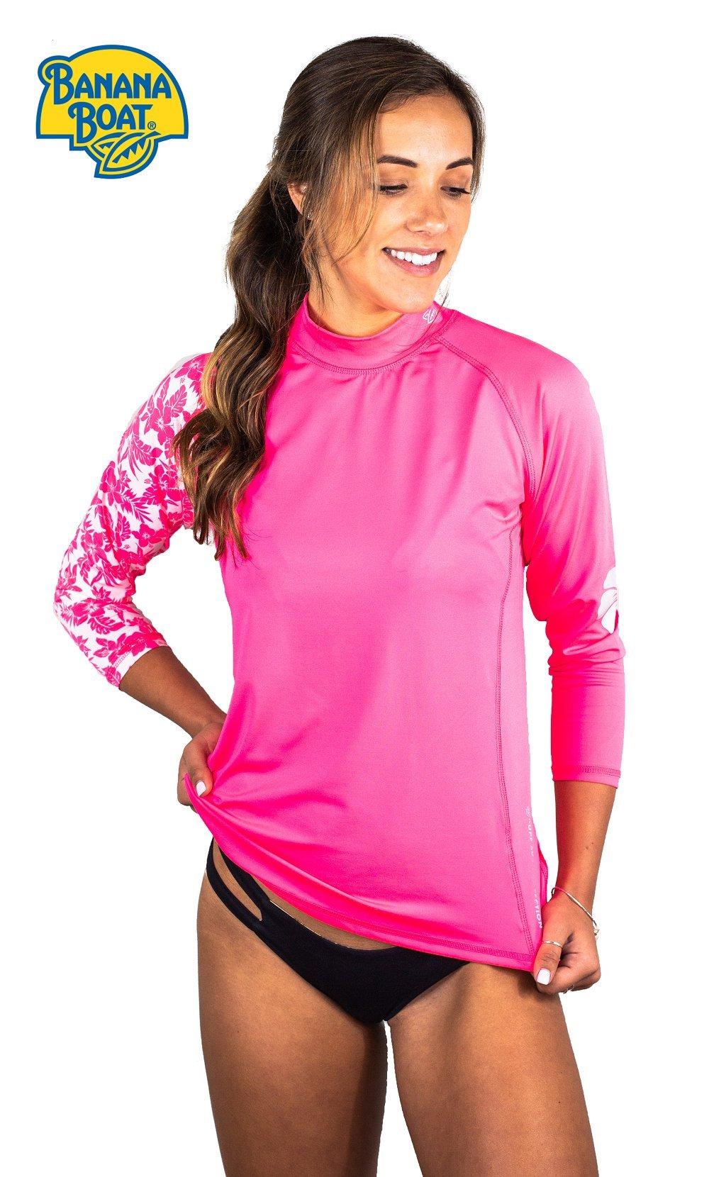 Banana Boat Women's Long Sleeve Rashguard UPF50+ Sun Protective Swim Shirt Hibiscus Islander Top Neon Pink Large