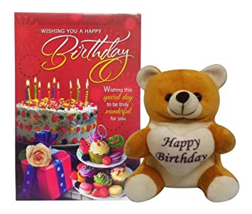 Buy Saugat Traders Happy Birthday Soft Teddy With Greeting Card Online At Low Prices In India