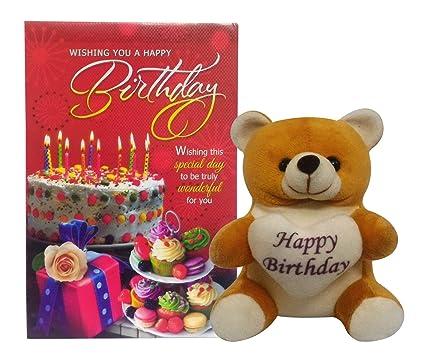 Buy Saugat Traders Happy Birthday Soft Teddy With Birthday Greeting
