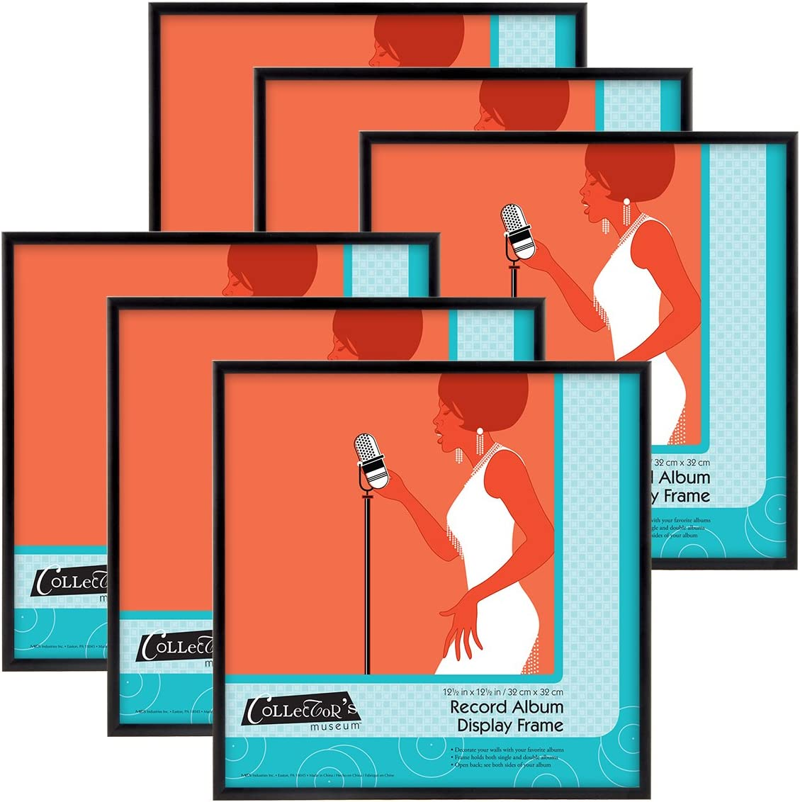 MCS 65506 Gallery Aluminum Album Cover Frame, 6 Pack, Anodized Black(Pack of 6), 6 Count