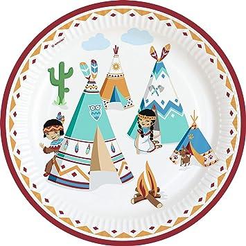 8 platos, Tipi & Tomahawk, para cumpleaños infantiles y ...