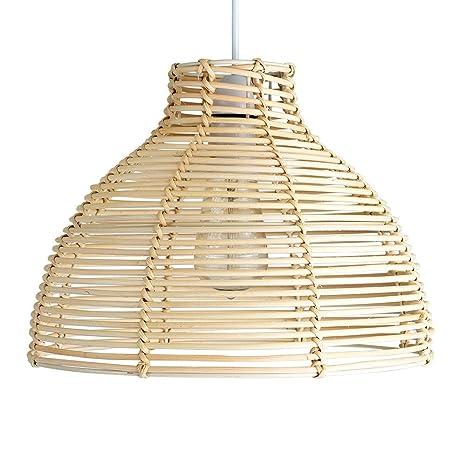 MiniSun - Moderna pantalla para lámpara de techo Saori, de cesta de mimbre crema