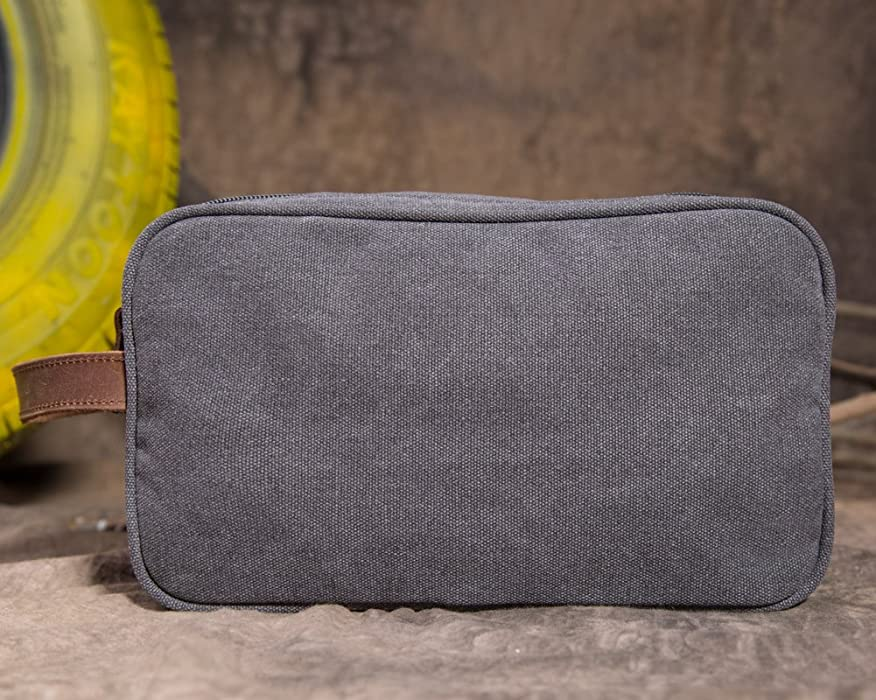 63759c476f ... Unisex Kemy s Mens Canvas Toiletry Bag Travel Bathroom Shaving Dopp Kit  with Double Compartments