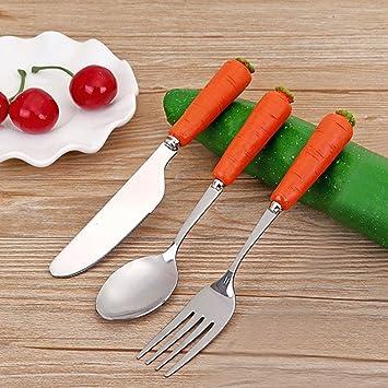 Calistouk Acier inoxydable mignon Dessin anim/é enfants Vaisselle Cuill/ère Fourchette ustensile de cuisine pour b/éb/é enfant