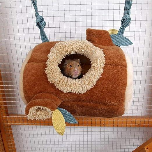 Hamaca para hámster de invierno, cálida, para animales pequeños, túnel de algodón, para colgar, para jaula, juguetes para ratas, bebés, chinchilla, cobaya, erizo, hurón, ardilla (24 x 17 cm): Amazon.es: Productos para