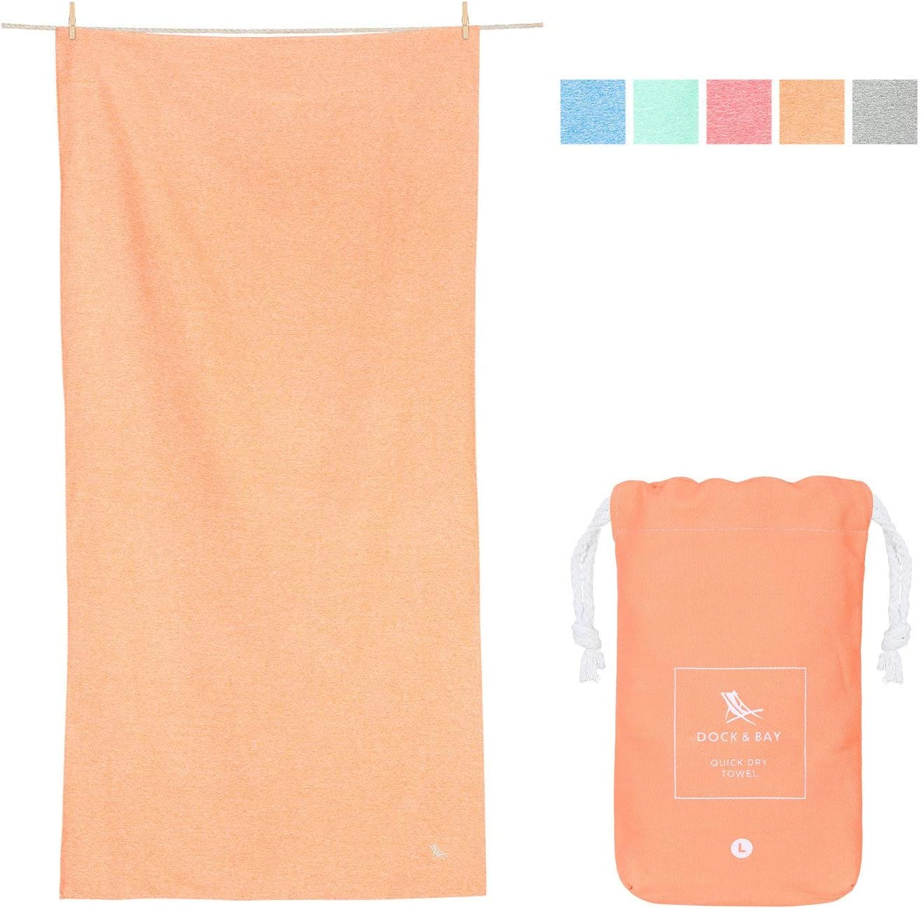 Dock & Bay XL Mat Towels for Sports - Dune Orange, 78 x 35 - Yoga, Pilates & Beach - Travel Towel, Camping, Swim & Pool