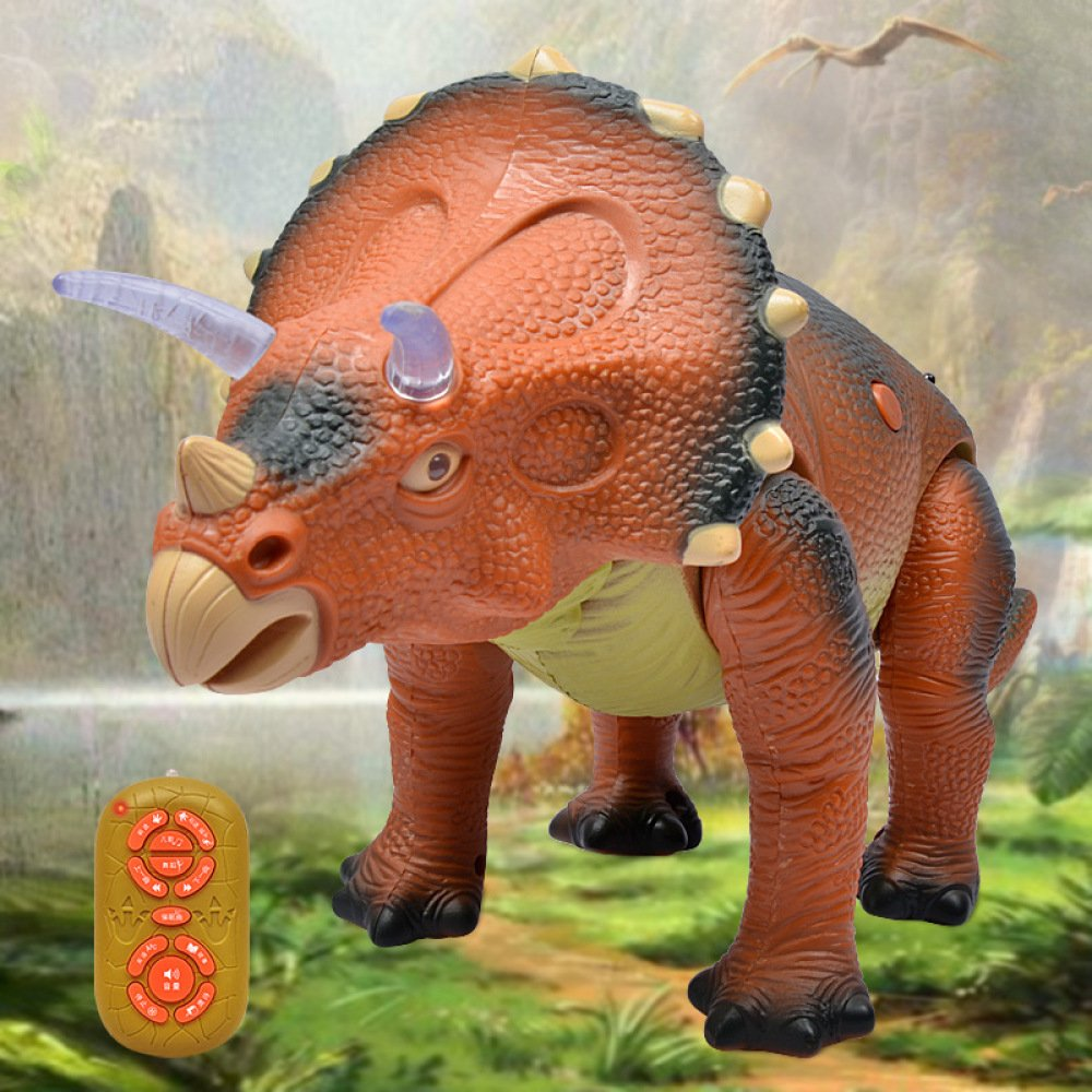 SEJNGF Control Remoto Eléctrico Dinosaurio Rompecabezas Triceratops Juguete De Dinosaurio De Plástico Modelo Juguetes Infantiles
