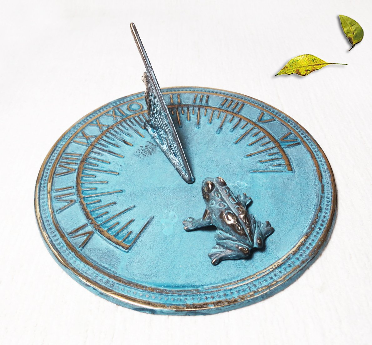 Decorative Brass Frog Sundial - 7'' inches wide