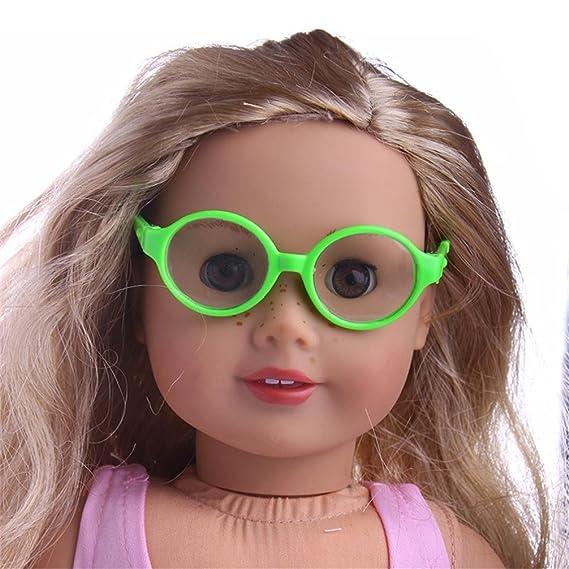 f58b1258a228f8 Accessoires de poupée, Fulltime Lunettes de soleil de cadre rond en  plastique élégant Pour 18