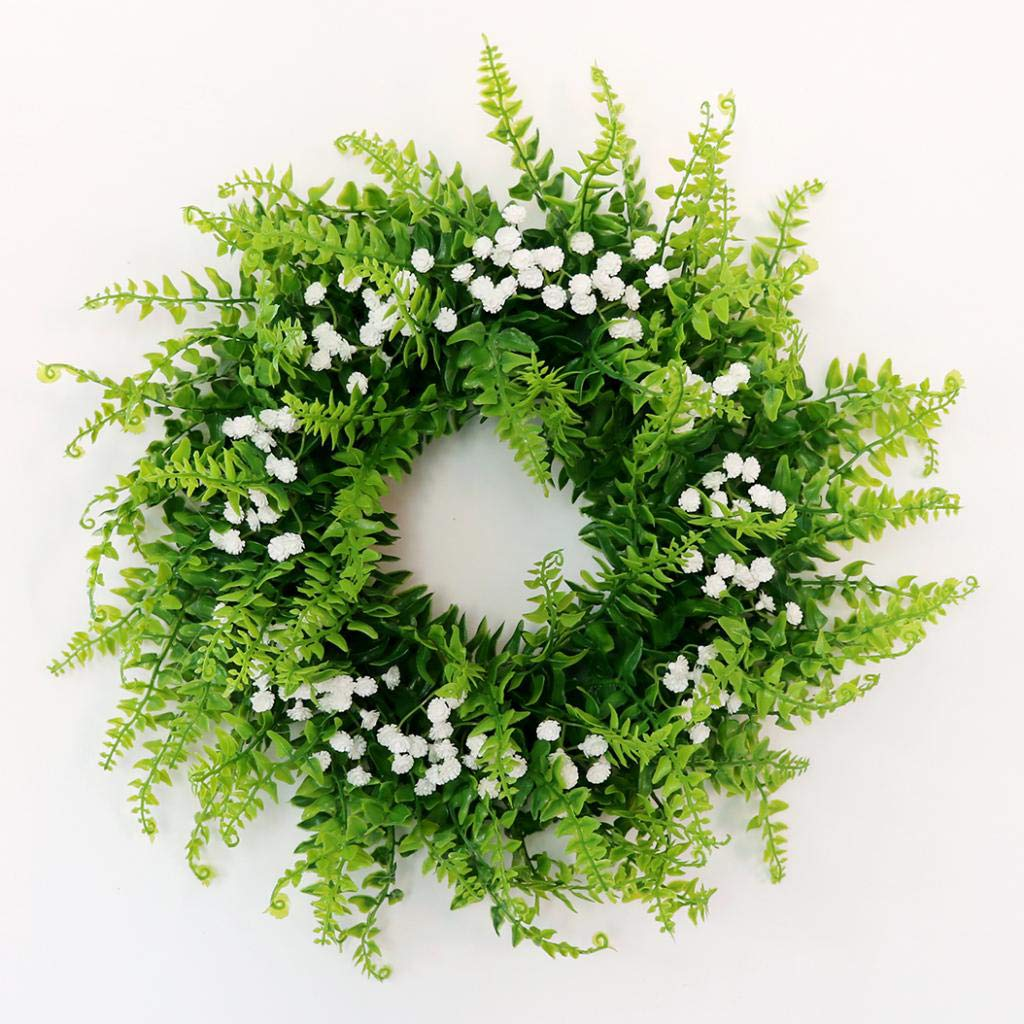 Prettyia Simulation Gypsophila Plant Flower Wreath on Twig Base Indoor Outdoor Home Garden Ornament Wedding Decorations