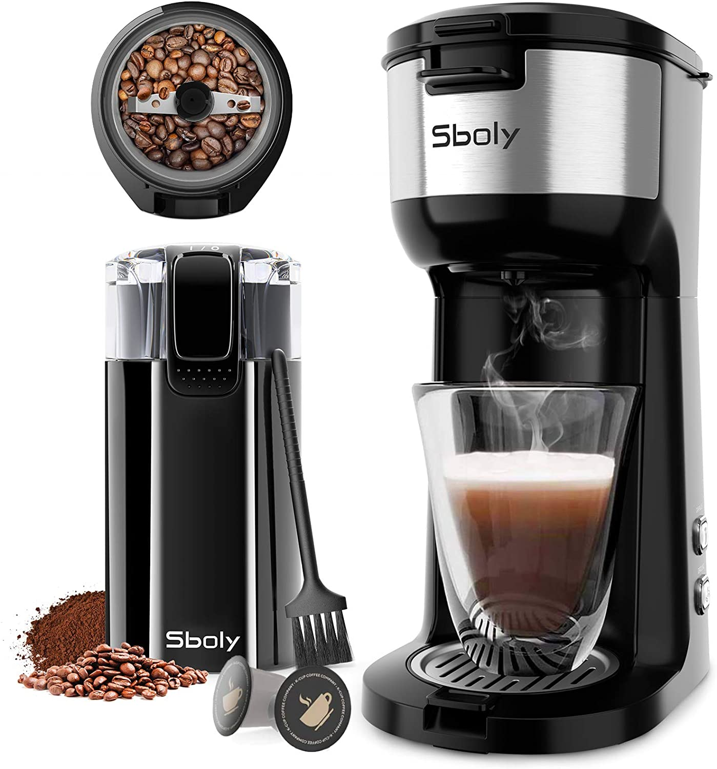 Grinder Coffee Brewer, Sboly Coffee Maker with Grinder, Single Serve Coffee Maker for K-Cup Pod & Ground Coffee, Electric Coffee Grinder with Stainless Steel Blades for Coffee Beans