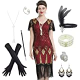 Women's 1920s Gatsby Inspired Sequin Beads Long Fringe Flapper Dress w/Accessories Set