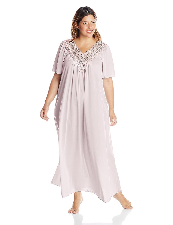Shadowline Women's Plus-Size Beloved 53 Inch Flutter Sleeve Long Gown Shadowline Sleepwear 32275X