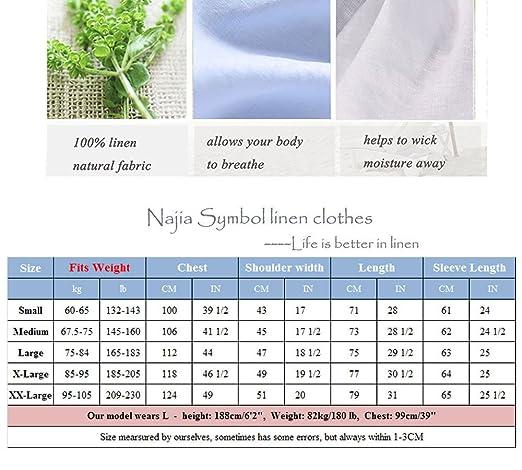 Najia Symbol Herren Beiläufig Lange Ärmel Kragenlos Buttons 100% Leinen Hemd  (S  44 DE, Weiß)  Amazon.de  Bekleidung 7034d18f1f