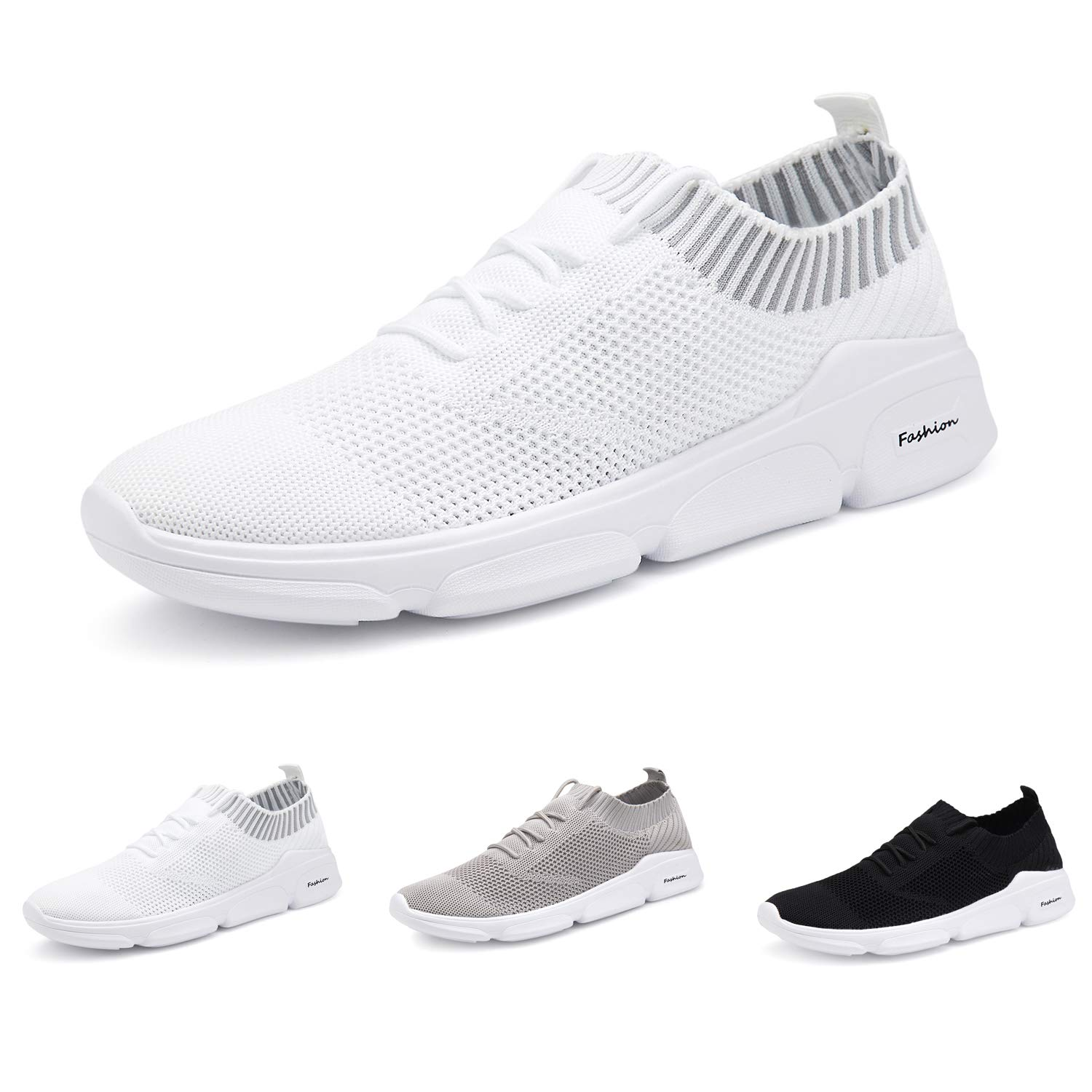 ANTETOKUPO Mens Running Shoes Mesh Sport Knitted Lightweight Casual Walking Shoes Fashion Sneakers Athletic Shoes Men (10, White-A) by ANTETOKUPO
