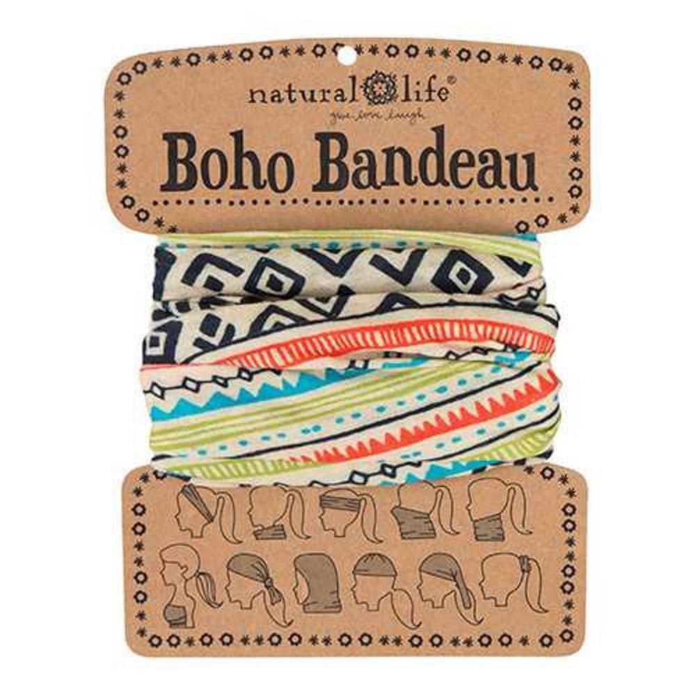 Natural Life Boho Bandeau Cream Black Geometric Pattern