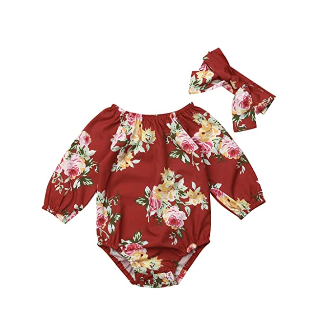 83658697a Amazon.com  2Pcs Toddler Baby Girls Flower Bodysuit Long Sleeve ...