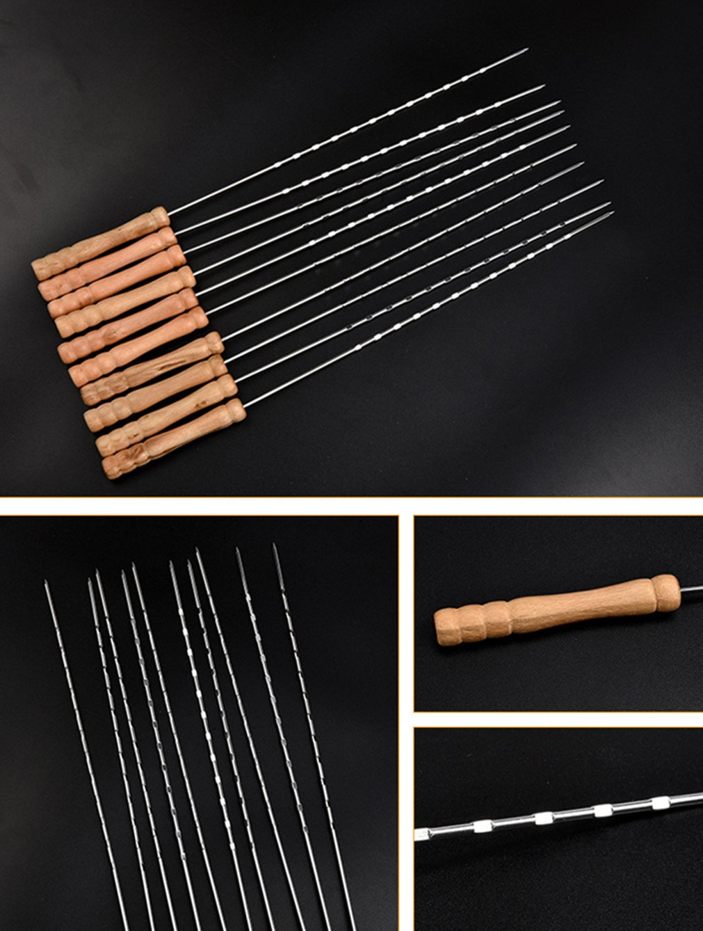 Wide BBQ Kabob Grilling Sticks with Wooden Handle to Protect Your Hands Holzsammlung/® 10 Pcs Stainless Steel Barbecue Skewers Set