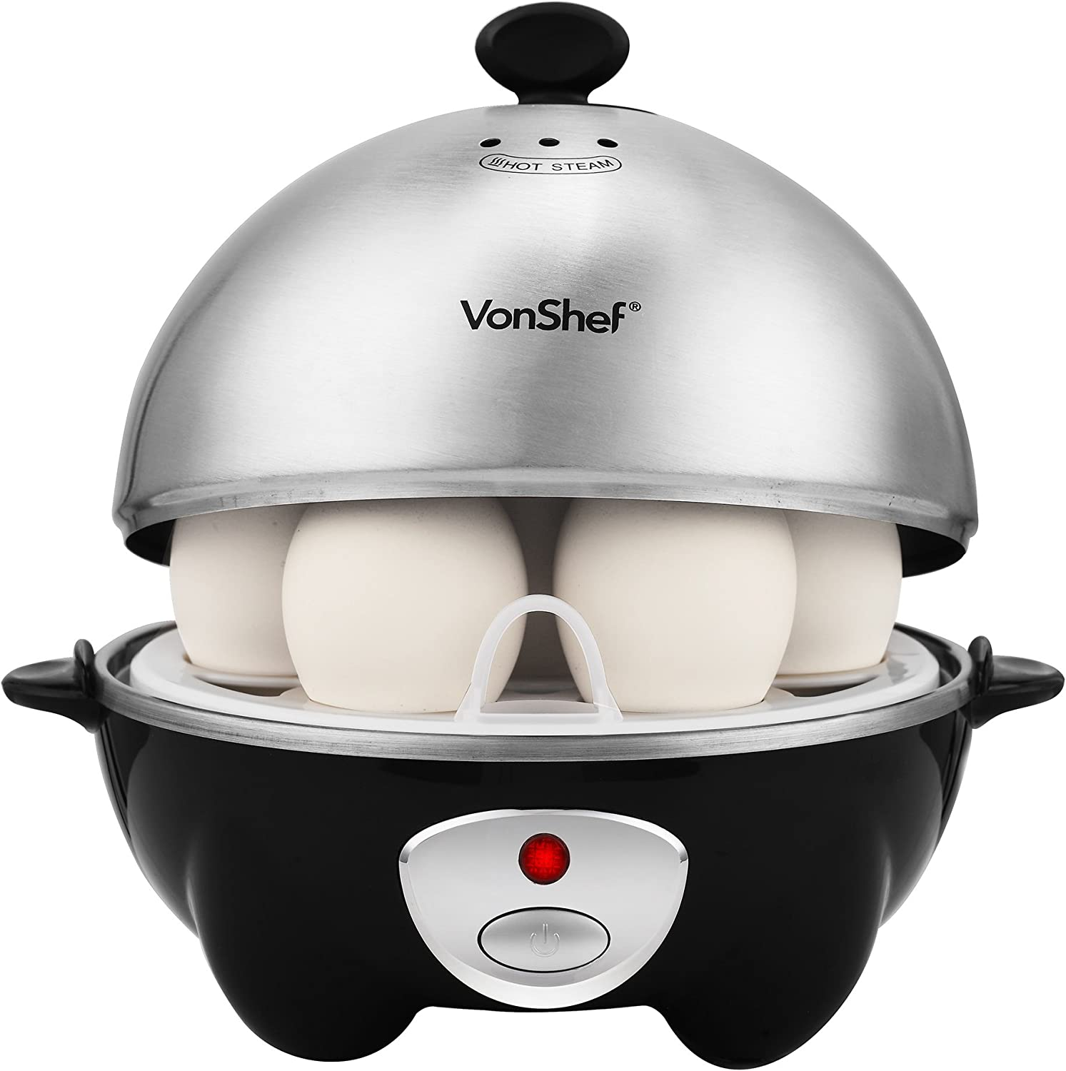 VonShef 7- Egg Electric Cooker Stainless Steel with Poacher Steamer Attachment