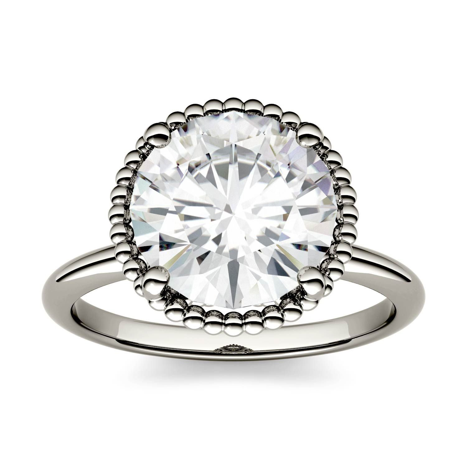 Forever One Round 10.0mm Moissanite Engagement Ring-size 8, 3.60ct DEW (D-E-F) By Charles & Colvard