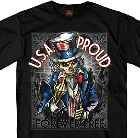 Hot Leathers Mens Short Sleeve Uncle Sam Poster Finger T Shirt Black, X-Large