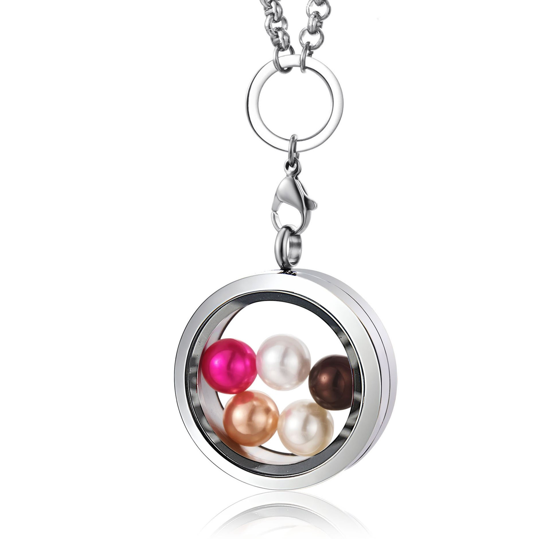 CAPTTE 316L Stainless Steel Pearl Cage Pendant High-Capacity Living Memory Floating Locket Pendant Necklace Women Thickened Toughened Glass Locket Necklace Free Chain 5pcs Pearl Gift Set