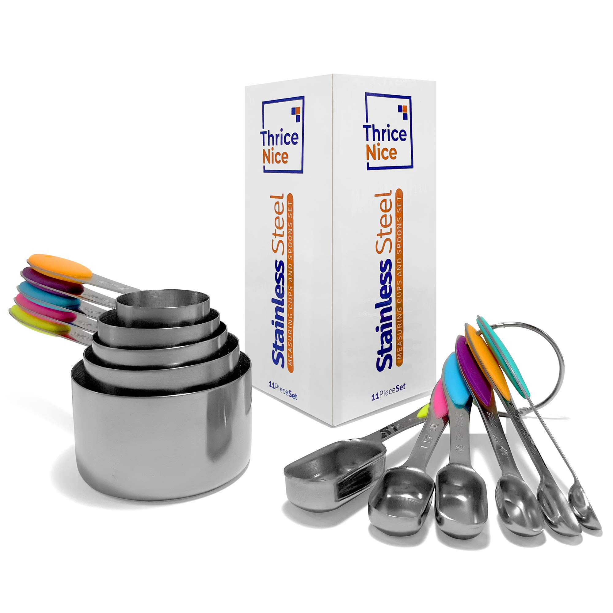 Unique 11-Piece Stainless Steel Measuring Cups & Spoons Set by Thrice Nice: Liquid/Dry Ingredients Dishwasher Safe Colored Silicone Metric/US - Cooking Baking Coffee Tea- 5 Cups & 6 Spoons - Food Safe by Thrice Nice