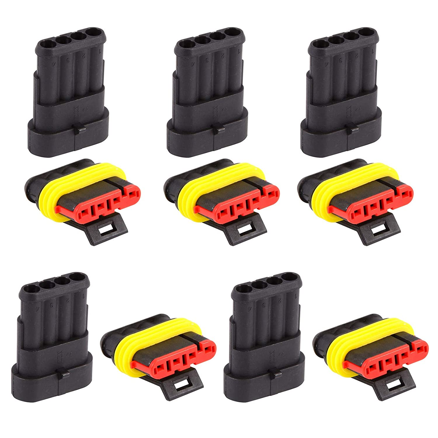 10 Sets 4 Pin Way Waterproof Electrical Wire Plastic Connector Plug Sealed for Motorcycle Scooter Auto Truck Marine