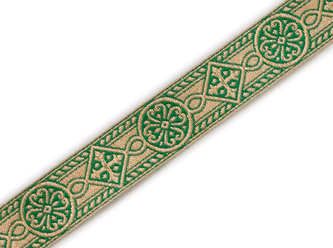 1 Wide Green Gold Jacquard Chasuble Medieval Church Vestment Trim 5 Yds DIY