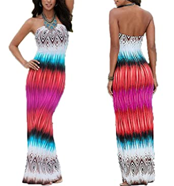 HANBINGPO New Print Long Beach Dresses Off The Shoulder Colorful Casual Women Maxi Dress Vestidos