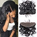 """Brazilian Virgin human Hair 13x4"""" Full Lace Frontal Closure Ear To Ear Sunwell Body Wave Human Hair Extensions Top Lace Front Closures With Baby Hair Bleached Knots Natural Color 14 inches"""