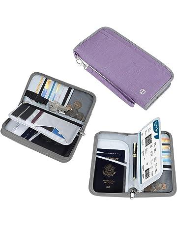 4b062f180 Vemingo Cartera de Viaje Parta Pasaporte Portadocumentos Familiar con RFID  Organizador de Documentos 5 Pasaportes,
