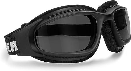Bertoni Af113 Winddichte Motorradbrille Schutzbrille With Outriggers Antibeschlag Uv Schutz Verstellbar Elastische Für Motorradhelm Transparent Linse Dunkle Linse Auto