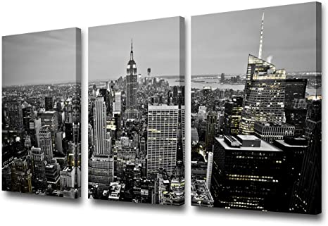 Amazon Com 3 Pieces Canvas Wall Art Black And White New York City Skyline At Night Wall Art Manhattan Downtown Urban Skyline Pictures Modern Home Decor Stretched And Framed Ready To Hang