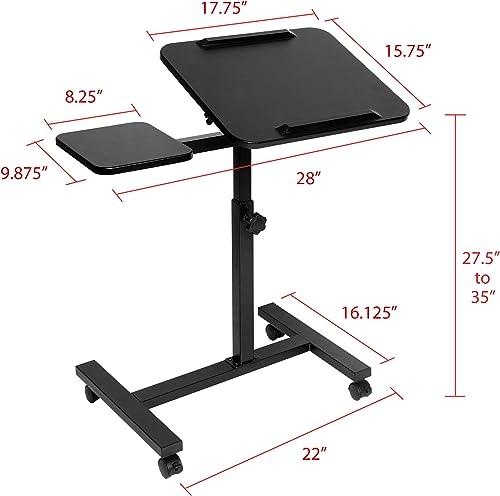 Seville Classics Height Adjustable Sitting Mobile Laptop Desk Cart Ergonomic Table Review