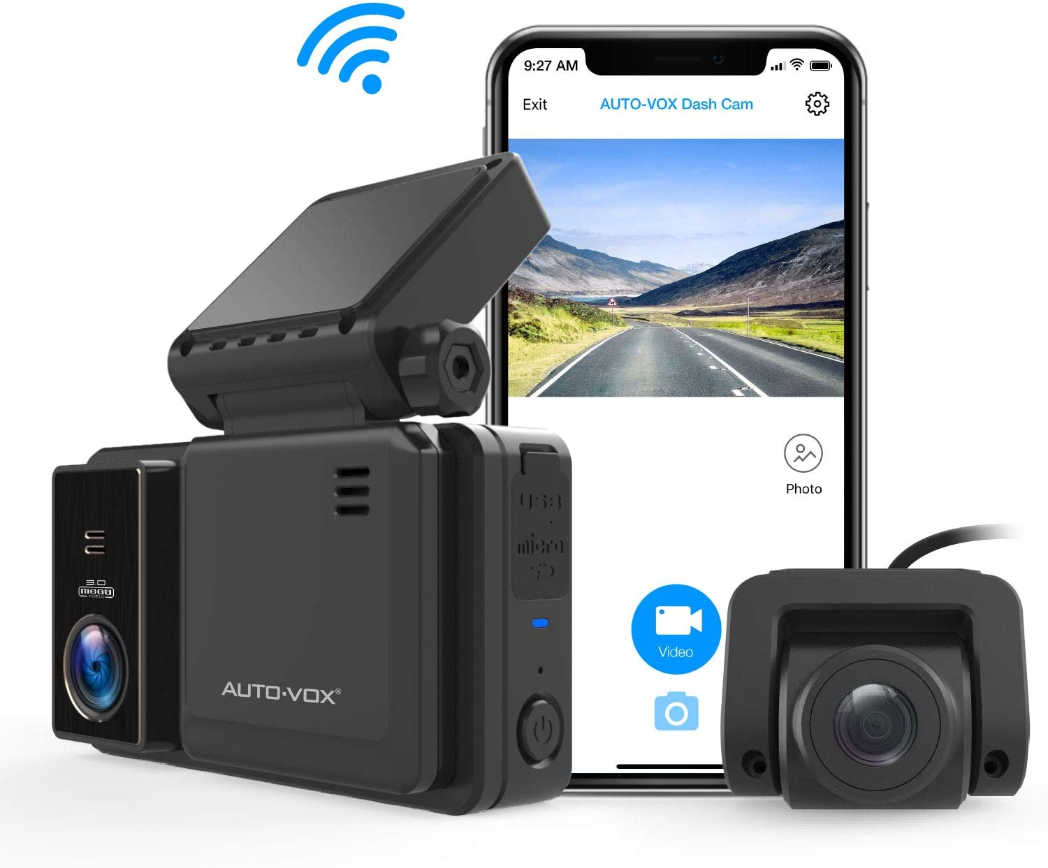 AUTO-VOX AD2 WiFi Dash cam Front and Rear FHD 1080P@30fps, Dash Camera for Cars with Sony Sensor, GPS Tracking,Loop Recording